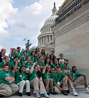 Photo: 4-H'ers on the steps of the Capitol Building in Washington, DC.