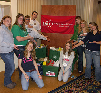 Photo: 4-H members show the results of their food collection for Rutgers Against Hunger.